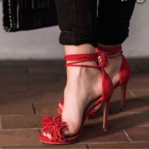 Red Fringe Heeled Sandals